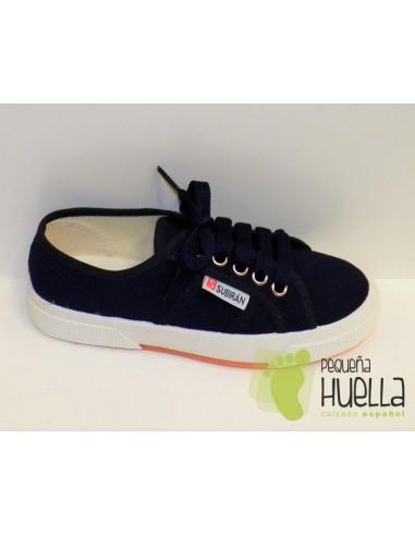 Zapatillas Lona con Cordones, Azul Marino