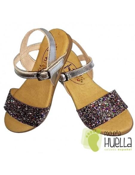 Sandalia Piel Plata con Glitter Brillante Multicolor