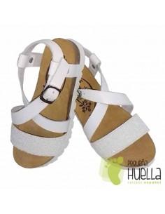 Sandalia Bio Piel Blanca con Giitter Blanco