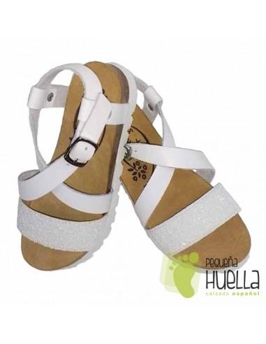 Sandalia Niña Bio Piel Blanca con Giitter Blanco