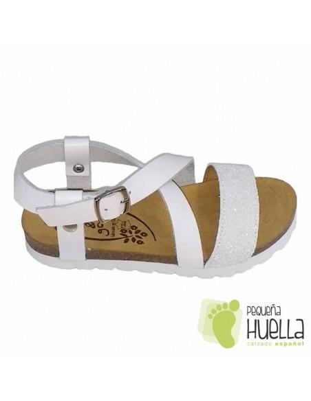 Sandalia Bio Piel Blanca con Giitter Blanco para niñas