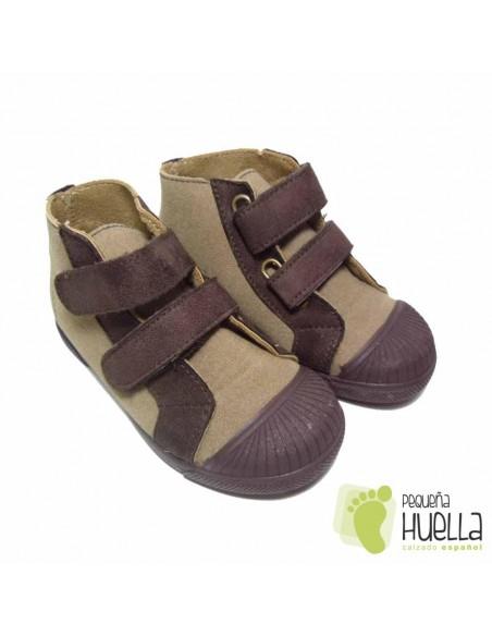 Botas dos Velcros Camel-Marrón