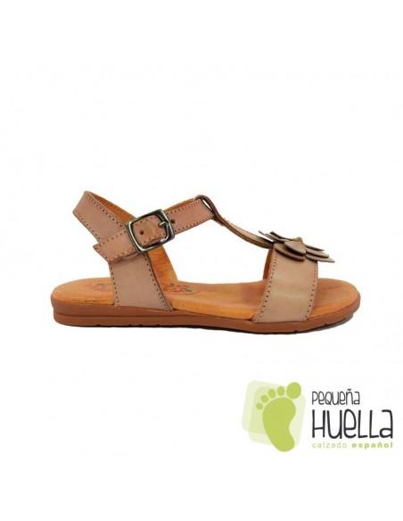 sandalias marrones camel piel para niña mon & got baratas en Las Rozas