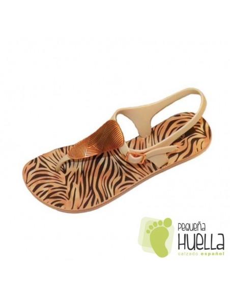 chanclas tipo sandalias de Goma Doradas ipanema con Hebilla para playa o piscina