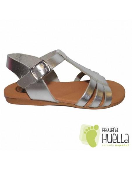 Sandalia Piel color Plata NIÑA