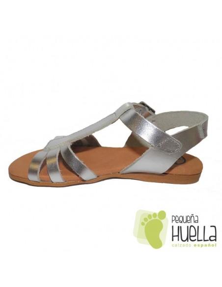Sandalias de Piel Plata Niña Mon & Got Bartas en Las Rozas