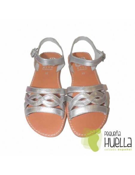 Sandalia Piel color Plata con hebilla