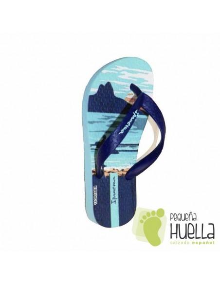 Sandalias o Chancla de Caucho Natural Color Azul