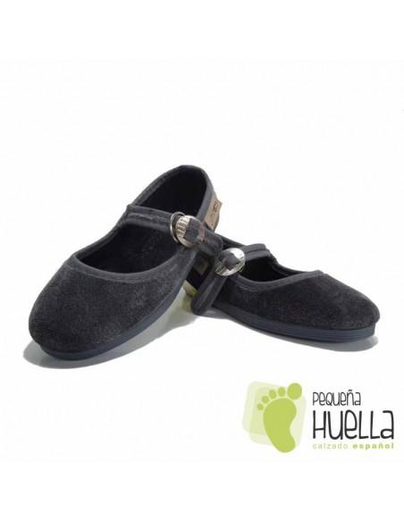 Zapatillas Merceditas de Terciopelo Gris Niña La Cadena