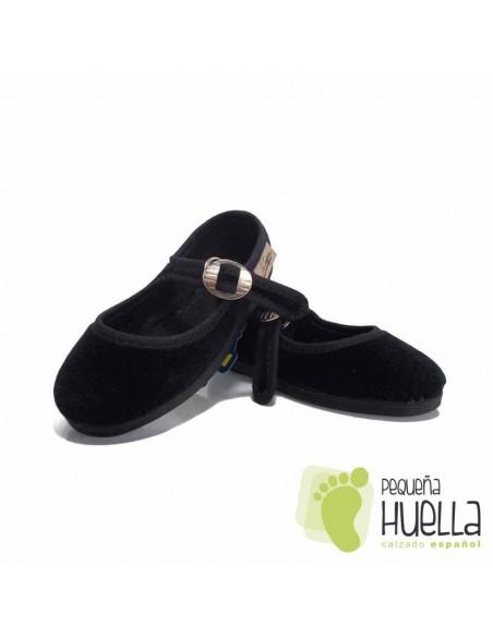 Zapatillas Merceditas de Terciopelo Negro Niña La Cadena