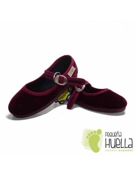 Zapatillas Merceditas de Terciopelo Burdeos Niña La Cadena