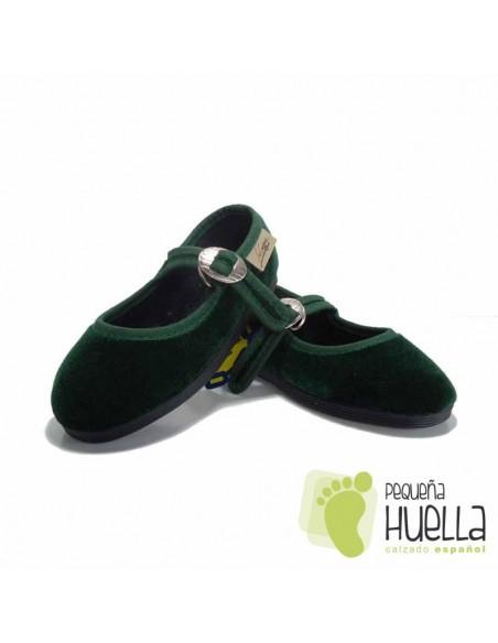 Zapatillas Merceditas de Terciopelo Verde Botella Niña La Cadena