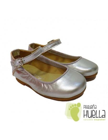 Zapatos Merceditas para Niñas en Piel plata con Pulsera y Hebilla Moda Shoes en Las Rozas