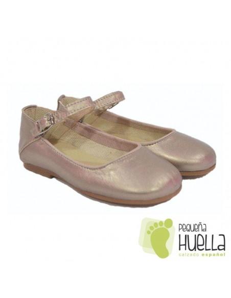 Zapatos Merceditas para Niñas en Piel doradas con Pulsera y Hebilla Moda Shoes en Las Rozas