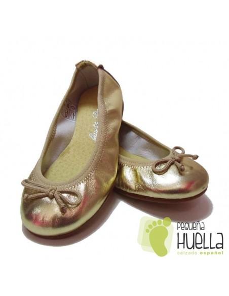 Bailarinas o Manoletinas para niñas de piel doradas oro en Las Rozas