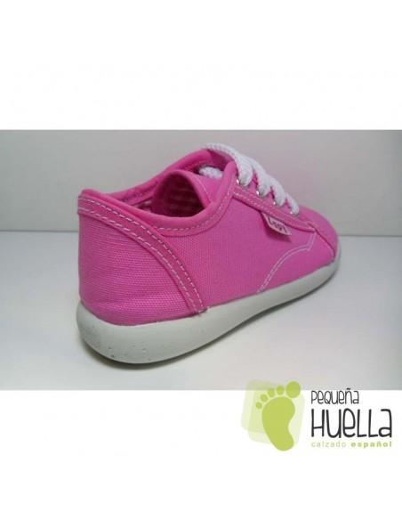 Zapatillas lona rosa playeras bambas rosas chicle para niños y niñas con cordones ZAPY baratas en las rozas