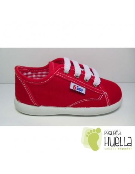 Zapatillas lona rosa playeras bambas rojo para niños y niñas con cordones ZAPY baratas en las rozas