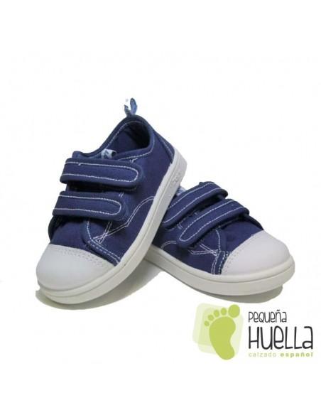 Zapatillas Lona azul jeans, playeras bambas vaquero tejano con Velcros para niños y niñas Zapy 528