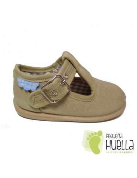 Pepitos Sandalias zapatos de Lona beige camel marron tostado Zapy con hebilla bebes, niños y niñas baratas en las rozas