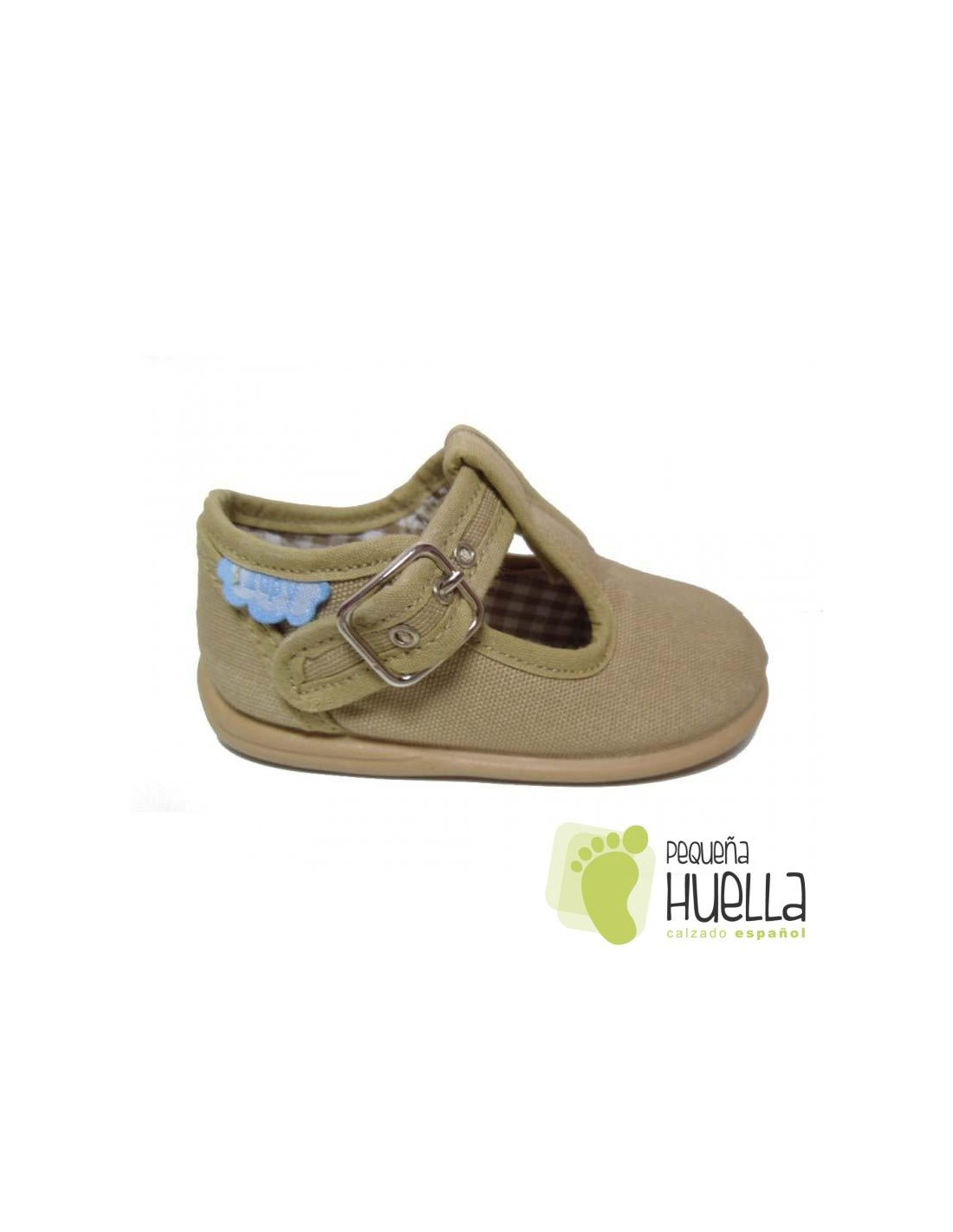 3ad6f7b0e1c ... Pepitos Sandalias zapatos de Lona beige camel marron tostado Zapy con  hebilla bebes
