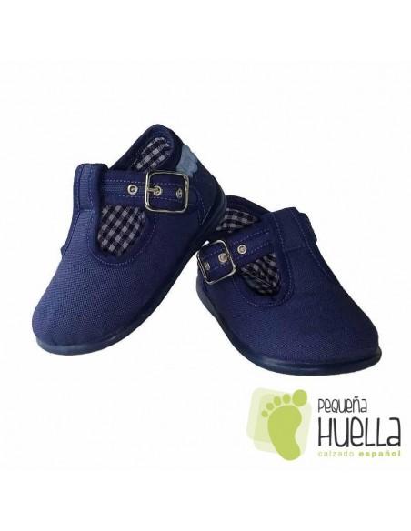 Pepitos Sandalias zapatos de Lona azul jeans vaquero tejano Zapy con hebilla bebes, niños y niñas baratas en las rozas