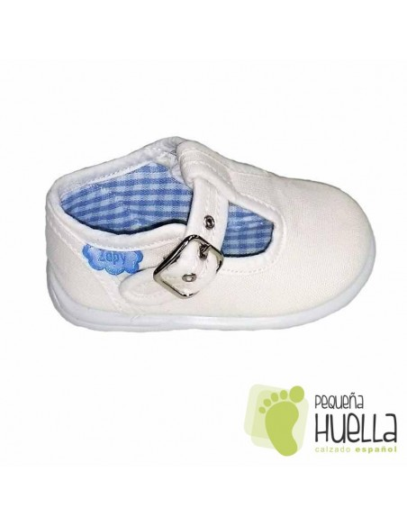 Pepitos Sandalias zapatos de Lona blancas Zapy con hebilla bebes, niños y niñas baratas en las rozas