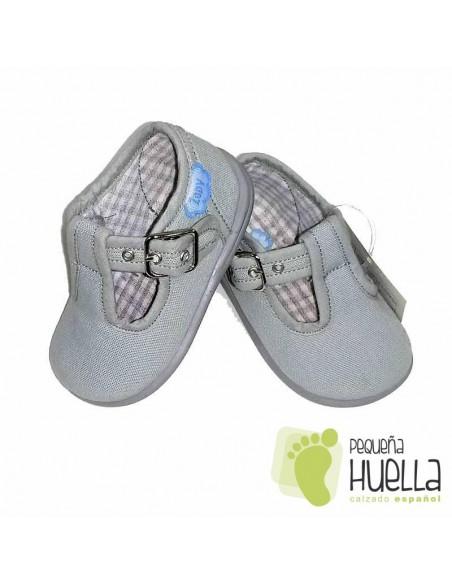 Pepitos Sandalias zapatos de Lona grises Zapy con hebilla bebes, niños y niñas baratas en las rozas