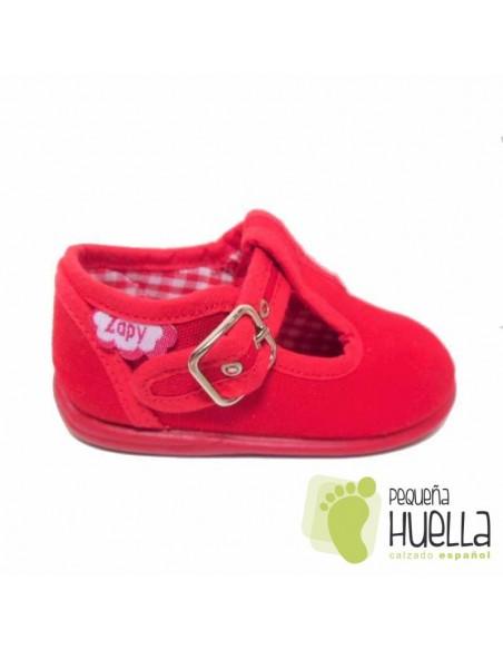 Pepitos Sandalias zapatos de Lona rojas Zapy con hebilla bebes, niños y niñas baratas en las rozas