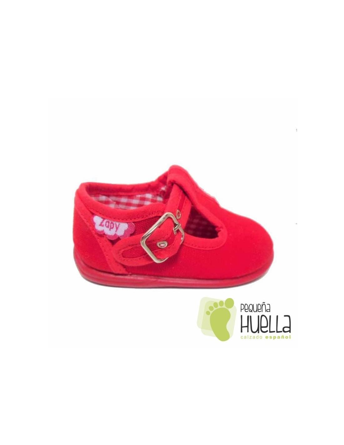 e4642de27e2 ... Pepitos Sandalias zapatos de Lona rojas Zapy con hebilla bebes