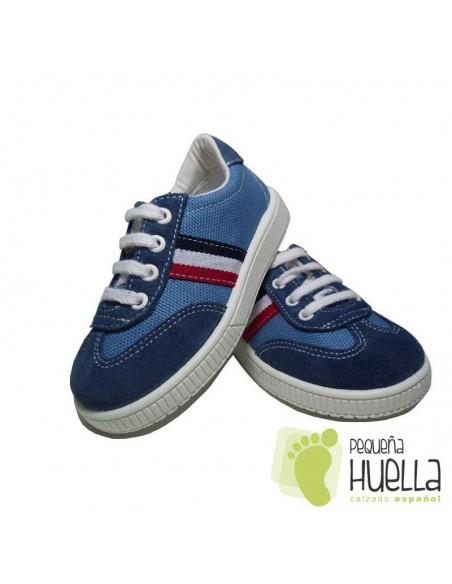 Zapatillas Deportivas tenis Niños niñas Bandera lona azul jeans perla Titanitos con cordones. en Las Rozas
