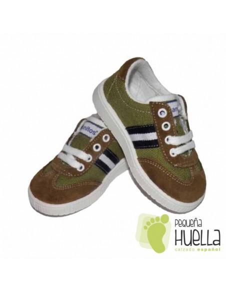 Zapatillas Deportivas tenis Niños niñas Bandera lona verde caqui kaki Titanitos con cordones. en Las Rozas