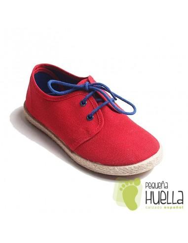 zapatillas zapato blucher piqué rojas esparto niños cordones tokolate barato en las rozas