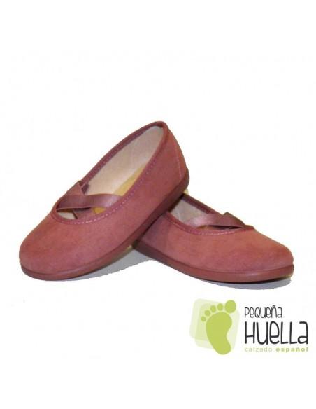 Bailarinas Manoletinas Niñas Serratex rosas Tokolate en las rozas