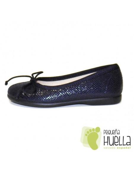 Manoletina bailarina niña serratex azul marino Tokolate en las rozas