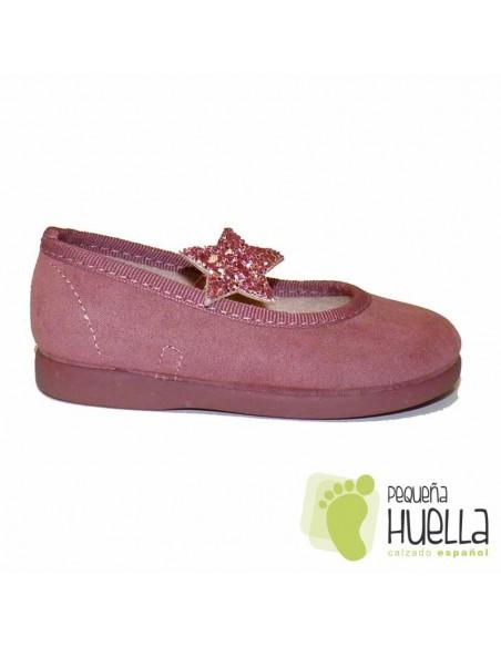 Merceditas Bailarina Bebe Niña Serratex rosas Estrella Tokolate