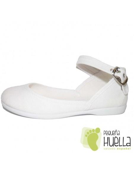 Zapatillas Niña tela blanca Tokolate con hebilla