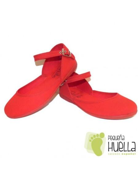 Merceditas Niña Lona piqué rojas Tokolate Tobillera