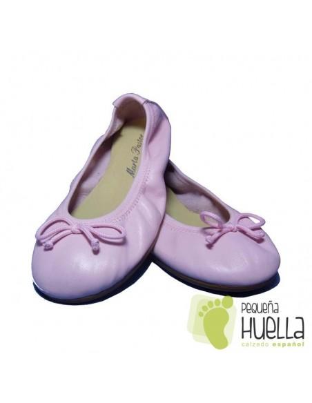 Bailarinas o Manoletinas de Piel Rosas para Niñas con Lazo
