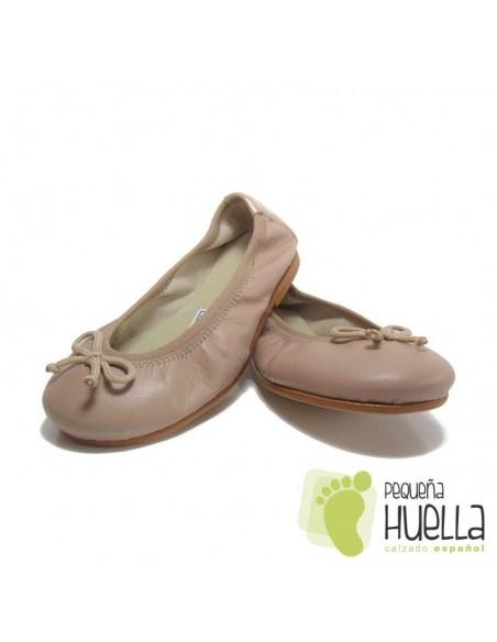 Bailarinas o Manoletinas niñas Piel Camel