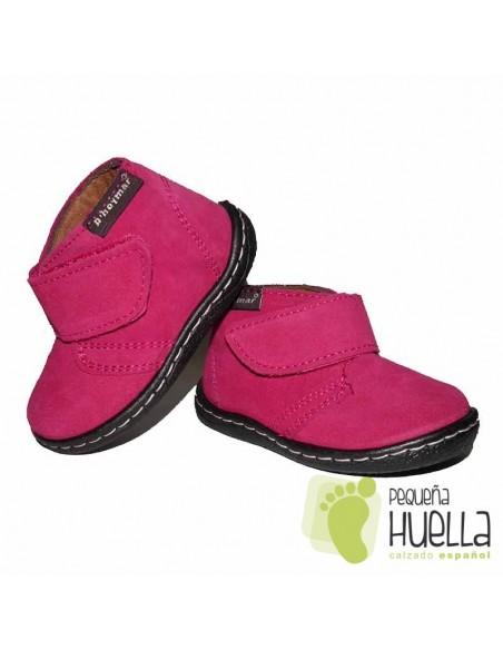 Bota Niña Bebé Rosa Fucsia Serraje Velcro