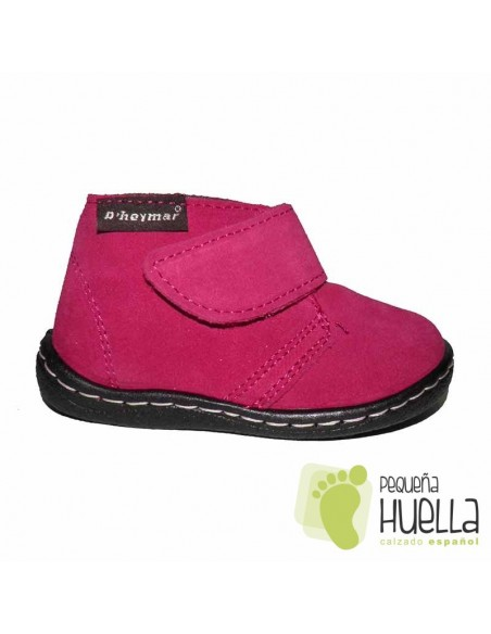 Bota Niña Bebé Rosa Serraje Velcro