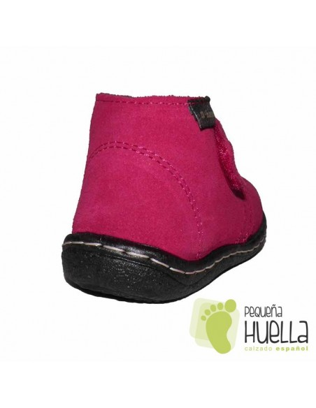 Botas Niñas Bebé Rosas Fucsia Serraje Velcro