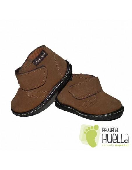 Bota Niña Niño Bebé Marrón Camel Serraje Velcro